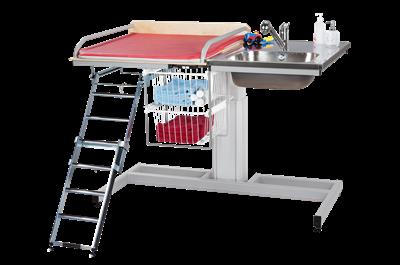 Skötbord Mega 140 inklusive Stege Trådkorg Dubbel Tvättdel Höger
