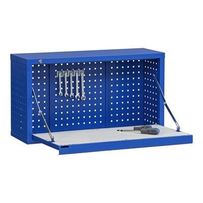 Gelochter Werkzeugschrank inklusive Klappbare Arbeitsfläche Blau