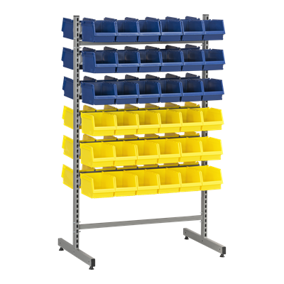 Complete T-Rack 2 including 36 Blue and 36 Yellow Plastic Bins
