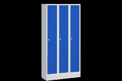 Klädskåp 3 Dörrar Bredd 900 mm Blå och Grå