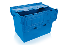Förvaringslåda med integrerat lock 75 L Blå