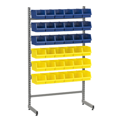 Complete L-Rack 2 including 18 Blue and 18 Yellow Plastic Bins