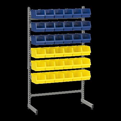 L-Gestell 2 Komplett, inkl. 18 Blauen und 18 Gelben Sichtlagerkästen