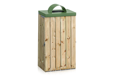 Litter Bin Wood Panel with Lid and Throw-In Hole 125 L