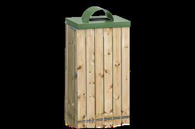 Säckhållare 125 l Träpanel med Inkasthål