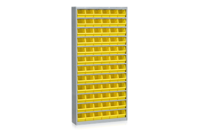 Bin Cabinet including 72 Plastic Bins Yellow