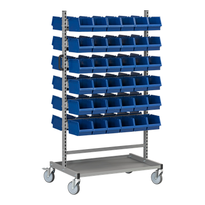 Complete Assembly Trolley HD 150 1 including 72 Plastic Bins