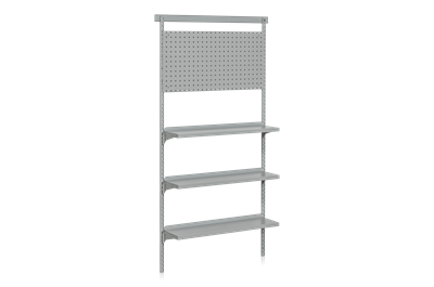 Wall Shelf 3 Shelves including Perforated Panel Base Section