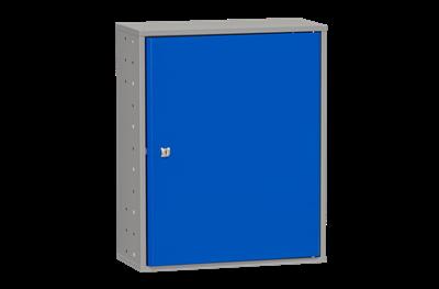 Materialschrank inklusive 4 Regalböden 580 mm Grau und Blau