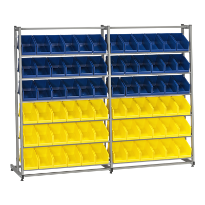 Complete Bin Rack HD 300/2 including 72 Plastic Bins
