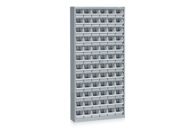 Bin Cabinet including 72 Plastic Bins Grey