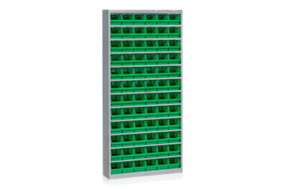Bin Cabinet including 72 Plastic Bins Green