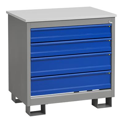 Schubladenblock H 4 Schubladen Grau/Blau 1020x700x1000 mm
